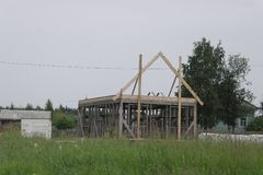 The construction of a frame house. Stromilova roof royalty free stock images