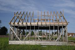 The construction of a frame house. Stromilova roof stock photography