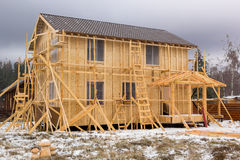 Construction of a frame house Royalty Free Stock Photos