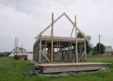 The construction of a frame house. Stromilova roof royalty free stock photo