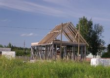 The construction of a frame house. Stromilova roof stock image