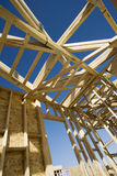 Construction Frame Of An Unfinished House stock photo