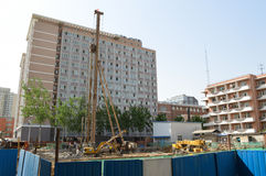 Construction in front of the dormitory Royalty Free Stock Image