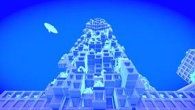 Construction Futur horizon de ville de concept Concept futuriste de vision d'affaires illustration 3D Photographie stock libre de droits