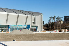 Construction Gangneung Oval in the Olympic Park. GANGNEUNG, SOUTH KOREA - JANUARY, 2017: Construction Gangneung Oval in the Olympic Park for the Olympic Games Royalty Free Stock Image