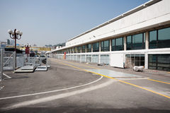Construction of garage boxes for race Macau Grand Prix Stock Image
