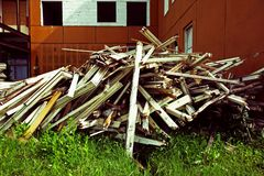 Construction garbage. Pile of old broken wooden windows Royalty Free Stock Photos