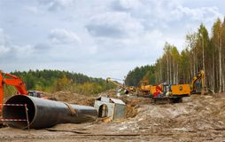 Construction of  gas pipeline Stock Image