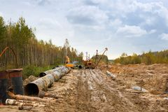 Construction of  gas pipeline Royalty Free Stock Photography