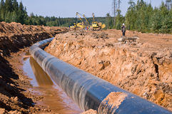 Construction of the gas pipeline Royalty Free Stock Photo