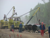 Construction of gas pipeline on the ground royalty free stock photography