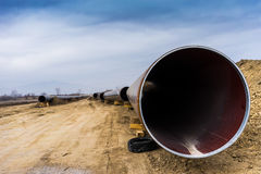 Construction of gas pipeline Trans Adriatic Pipeline - TAP in no. Rth Greece. The pipeline starts from the Caspian sea and reaches the coast of southern Italy royalty free stock photo