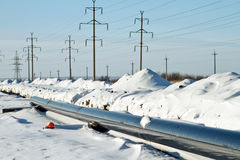 Construction of a gas pipeline in the winter Stock Image