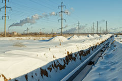Construction of a gas pipeline in the winter stock photo