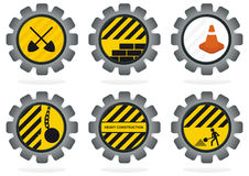 Construction Gear Icons. A set of gears with construction themed clip art Royalty Free Stock Photo
