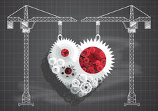 Construction of gears and cogs heart blueprint chalkboard vecto. Under Construction sign crane gears and cogs chalkboard blueprint on blackboard royalty free illustration