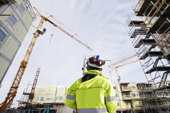 Construction and geodetist in action Stock Image