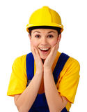 Construction girl holding her face in astonishment Stock Photos