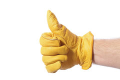 Construction glove thumbs up Stock Photos