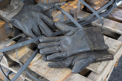 Construction gloves. Long Leather safety work gloves Royalty Free Stock Images