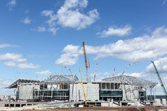 Construction of the grand stade in Lyon, France Royalty Free Stock Photo