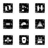 Construction ground icons set, grunge style. Construction ground icons set. Grunge illustration of 9 construction ground vector icons for web Stock Photography