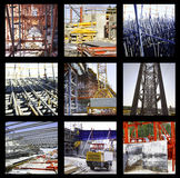 Construction group snapshots. Highlighting different aspects of the thematic Stock Photo