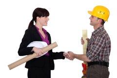 Construction hand-shake Royalty Free Stock Photography
