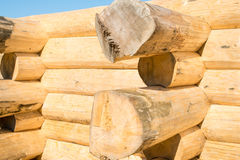 Construction of the handcrafted scribe fit log house Stock Photography