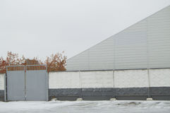 Construction hangar, warehouse and concrete wall, Blank background Royalty Free Stock Photos