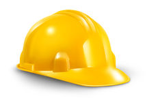 Construction Hard Hat. As a work safety symbol of the renovations and home improvement builder industry on a white background Royalty Free Stock Photography