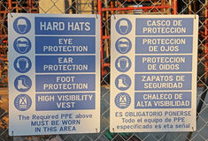 Construction Hard Hat Sign in English and Spanish Stock Photo