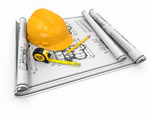 Construction. Hardhat, blueprint and rulers. Stock Photo