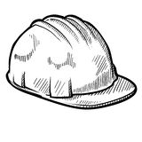 Construction hardhat sketch Royalty Free Stock Photos