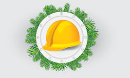 Construction hardhat with xmass theme. Illustrate  construction cap, hardhat with christmas theme, in the middle of circle of fir-tree leafs Stock Photography
