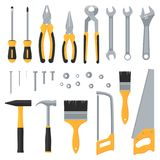 Construction hardware industrial tools vector flat icons royalty free illustration