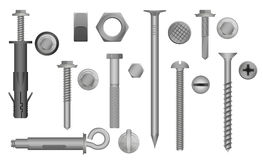 Construction Hardware set. Bolts, Screws, Nuts and Rivets. vector illustration of Metal fix gear elements. stock illustration