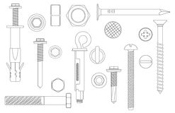 Construction Hardware set Bolts, Screws, Nuts and Rivets. vector illustration of outline line Metal fix gear elements. Construction Hardware set Bolts, Screws Stock Photo