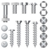 Construction hardware vector icons. Screws, bolts. Construction hardware icons. Screws, bolts, nuts and rivets. Equipment stainless fix gear, vector illustration vector illustration