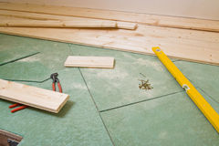 Construction of hardwood floor Royalty Free Stock Photography