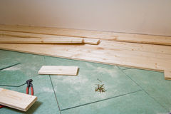 Construction of hardwood floor Royalty Free Stock Photos
