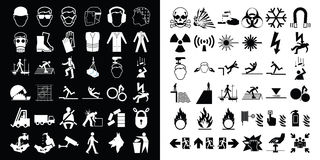 Construction and hazard warning icon collection Stock Images