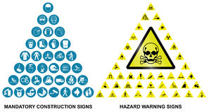 Construction and hazard warning icon collection Royalty Free Stock Image