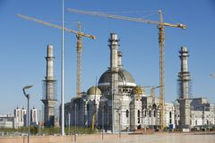 Construction of the Hazret Sultan mosque in process in Astana, Kazakhstan. Royalty Free Stock Photography