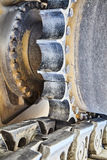 Construction heavy equipment track gear drive closeup Royalty Free Stock Photo