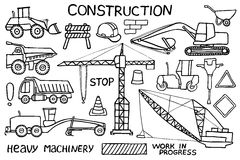 Construction and heavy machinery sketch. Hand Stock Image