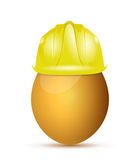Construction helment over an egg. illustration Stock Images