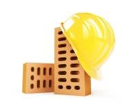 Construction helmet brick. Construction helmet on a white background Stock Photo