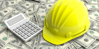 Construction helmet and calculator on dollars banknotes background. 3d illustration Royalty Free Stock Image