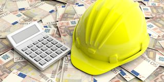 Construction helmet and calculator on euro banknotes background. 3d illustration. Construction cost concept. Hard hat and calculator on euro banknotes background Royalty Free Stock Images